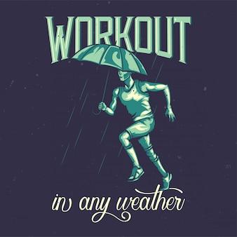 T-shirt o poster design con illustrazione di un corridore sotto la pioggia.