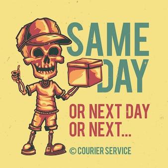 T-shirt o poster design con illustrazione di un corriere.