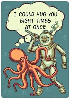 T-shirt o poster design con illustrazione di un polpo e un subacqueo.