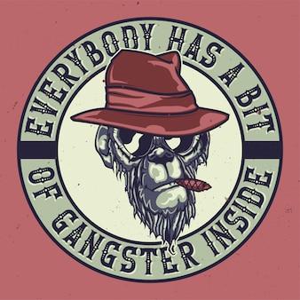 T-shirt o poster design con illustrazione di una scimmia gangster.