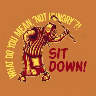 T-shirt o poster design con illustrazione di una vecchia nonna arrabbiata.