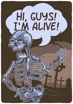 T-shirt o poster design con illustrazione di uno scheletro vicino al cimitero.