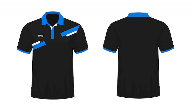 T-shirt polo blu e nero t illustrazione