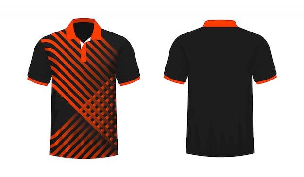 T-shirt polo modello arancione e nero per il design su sfondo bianco. illustrazione vettoriale eps 10.