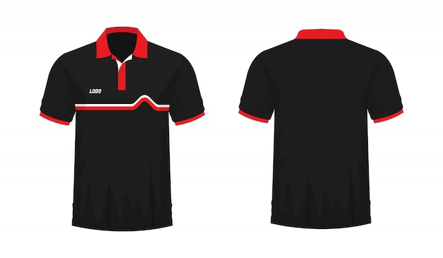 T-shirt polo rosso e nero t illustrazione