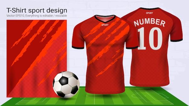 T-shirt sportiva con layout rosso e arancione