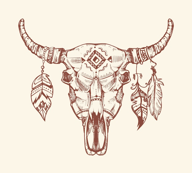 T-shirt stampa teschio tribale azteco, tatuaggio. totem teschio di mucca animale morto con piume.