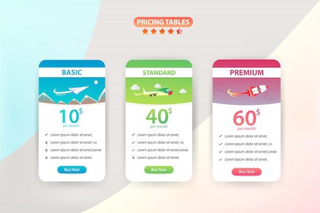 Tabella dei prezzi 3 piano diverso modello di progettazione vettoriale