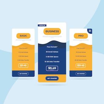 Tabella dei prezzi del sito web di listino prezzi flat