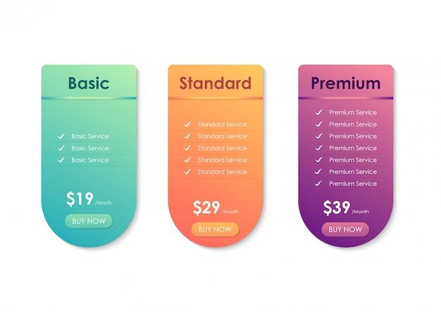 Tabella di confronto dei prezzi, modello di tabella dei prezzi per sito web, applicazioni e business