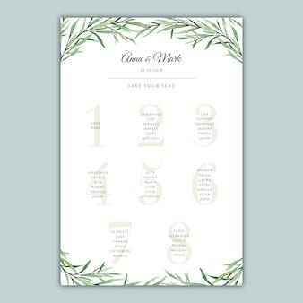 Tabella di posti a sedere dell'acquerello botanico per un ricevimento di nozze