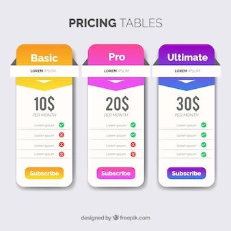 Tabelle dei prezzi moderne lucide