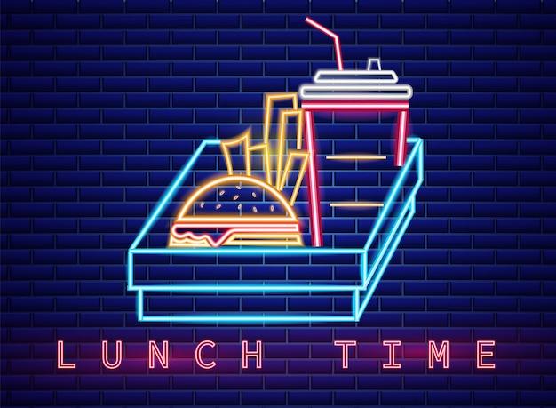 Tabellone per le affissioni del segno al neon del menu del pranzo degli alimenti a rapida