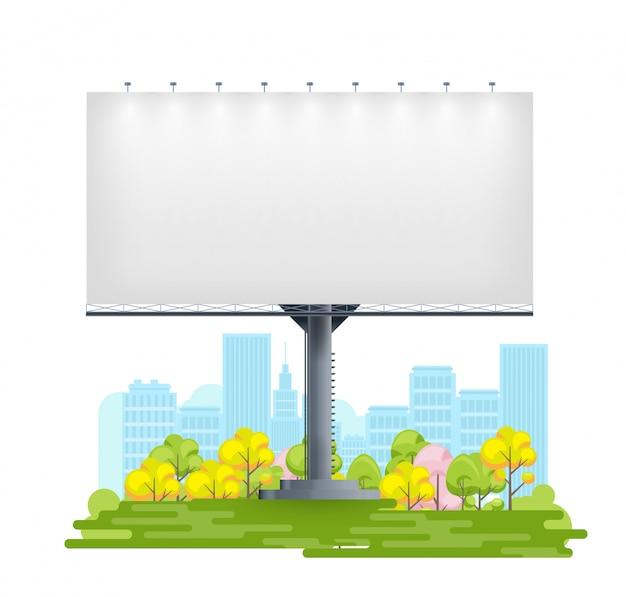 Tabellone per le affissioni in bianco sulla via della città per messaggio di offerta promozionale. grande pannello multimediale pubblicitario all'aperto sulla città dei cartoni animati per il design.