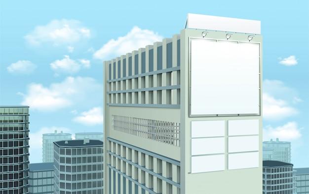 Tabellone per le affissioni sulla composizione di paesaggio urbano della costruzione