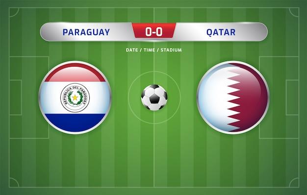 Tabellone segnapunti del paraguay e del qatar trasmesso dal torneo sudamericano di calcio 2019, gruppo b