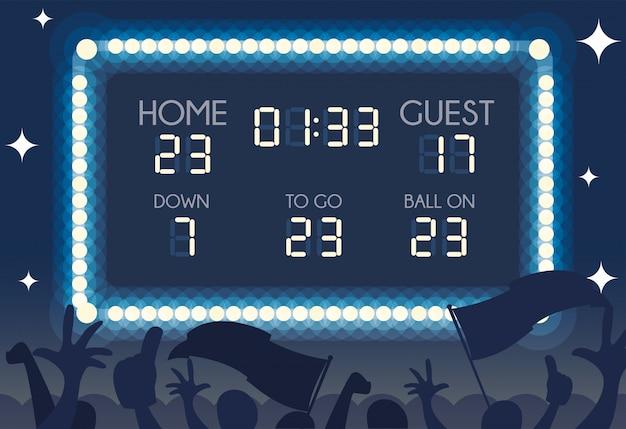 Tabellone segnapunti di football americano, casa e ospite