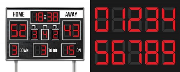 Tabellone segnapunti di football americano, punteggio del gioco di sport.