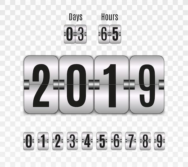 Tabellone segnapunti meccanico. set di numeri isolato su uno sfondo trasparente. contatore delle ore design retrò conto alla rovescia vintage con il tempo. numeri.