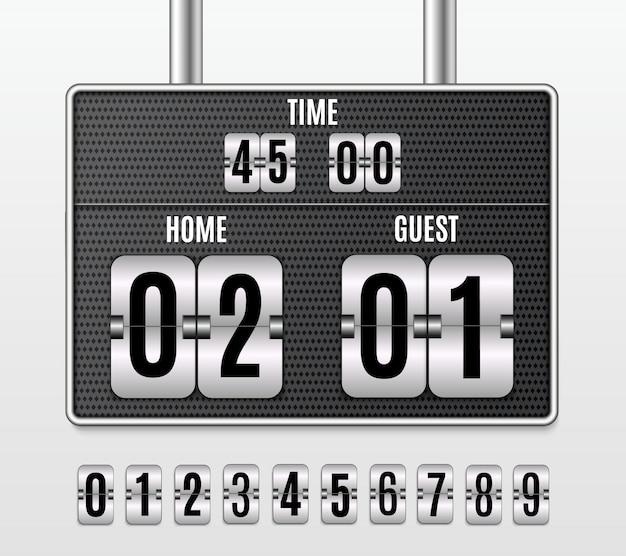 Tabellone segnapunti meccanico. set di numeri isolato su uno sfondo trasparente.