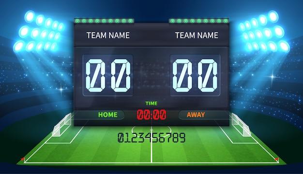 Tabellone segnapunti sportivo elettronico dello stadio con indicazione del tempo di calcio e partita di calcio