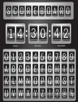 Tabellone segnapunti, tabellone sportivo con un set completo di alfabeto inglese e numeri da 1 a 9 nei colori bianco e nero. illustrazione