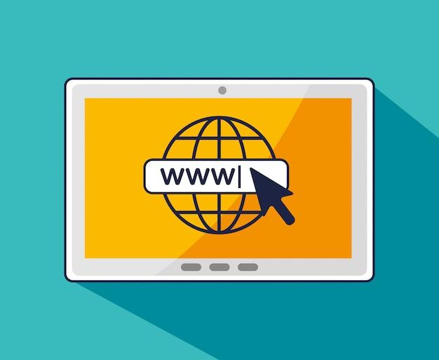 Tablet con cursore a freccia e connessione globale