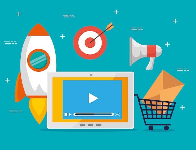 Tablet con informazioni sull'attività commerciale e sulla strategia