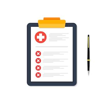 Tablet con scheda medica con segni rossi è raffigurato su bianco