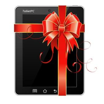 Tablet pc presente con fiocco