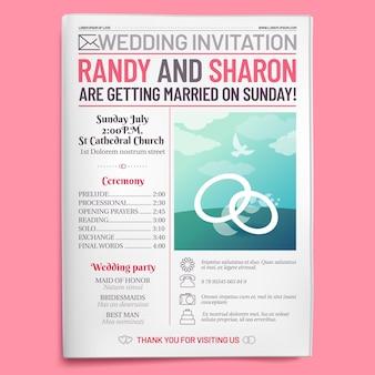 Tabloid dell'invito di nozze, prima pagina del giornale, opuscolo per sposarsi e vecchio layout del diario d'amore
