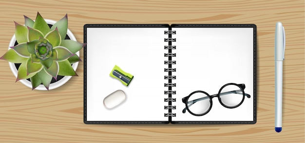 Taccuino bianco del quaderno e cactus verde