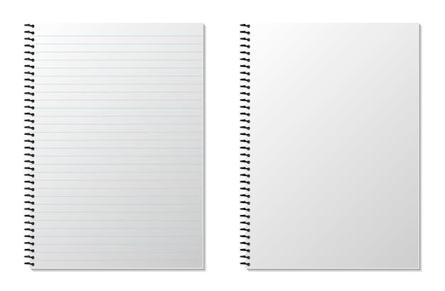 Taccuino di blocco note a spirale realistico in bianco isolato su bianco