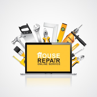 Taccuino di servizio online di strumenti di costruzione con strumenti