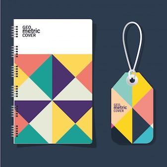 Taccuino ed etichetta con copertina geometrica
