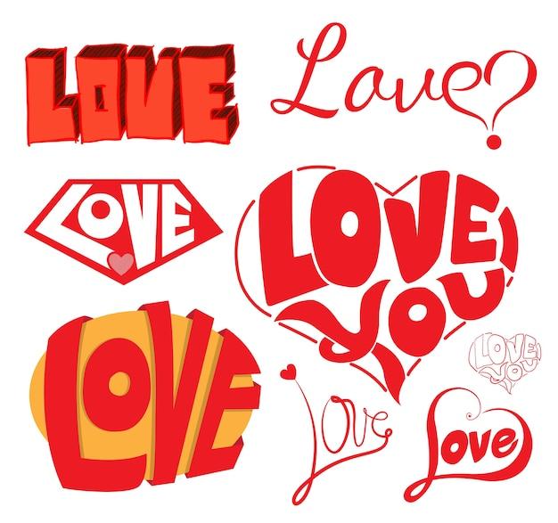 Taccuino impreciso di amore e cuori doodles elementi di design.