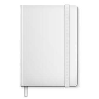 Taccuino in bianco bianco realistico con il segnalibro