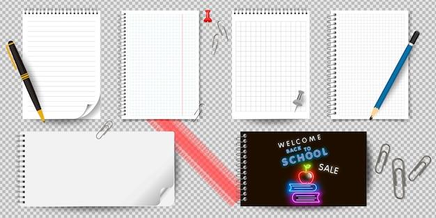 Taccuino o blocco note realistico con il raccoglitore isolato. blocco note o diario con modelli di pagina di carta a righe e quadrati.