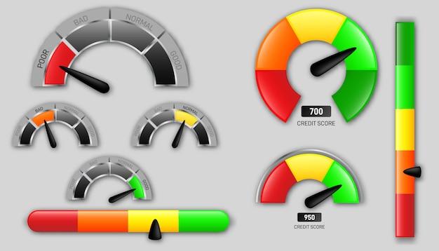 Tachimetri del punteggio di credito aziendale. indicatori di soddisfazione del cliente con livelli bassi e buoni. elemento grafico di concetto di contagiri, tachimetro, indicatori, punteggio.