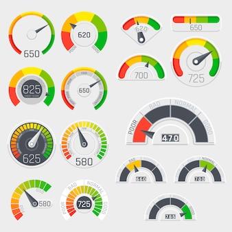 Tachimetri di vettore del punteggio di credito di affari. indicatori di soddisfazione del cliente con livelli bassi e buoni. punteggio di credito scarsa e buona illustrazione di rating