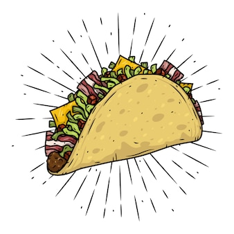 Taco. cibo messicano tradizionale. illustrazione isolata