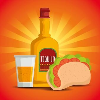 Taco con cibo messicano tradizionale tequila