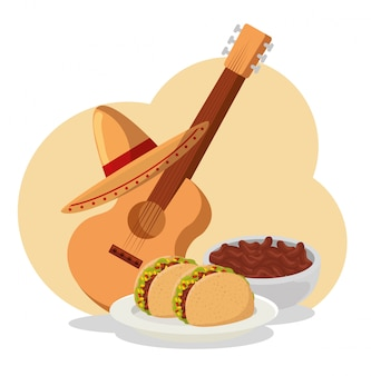 Tacos con fagioli e chitarra al giorno dell'evento morto