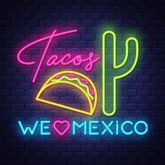 Tacos insegna al neon