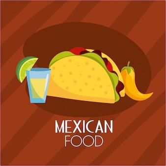 Tacos piccante cibo messicano con salsa