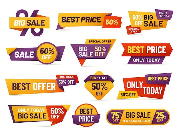 Tag di vendita al dettaglio. volantino a buon mercato, miglior prezzo di offerta e grande raccolta di badge di vendita tag distintivo isolato