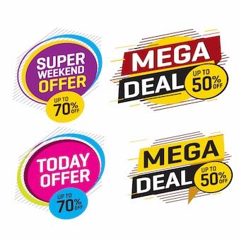 Tag di vendita e offerta speciale, cartellini dei prezzi, etichetta di vendita.