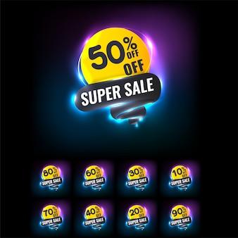 Tag di vendita impostati con luce al neon