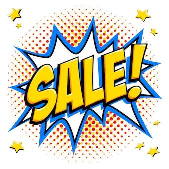 Tag di vendita in stile fumetto. banner web giallo super vendita