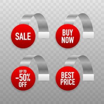 Tag punto vendita. etichetta bianca trasparente rotonda wobbler dello scaffale del supermercato